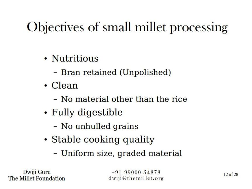 An overview of millet processing