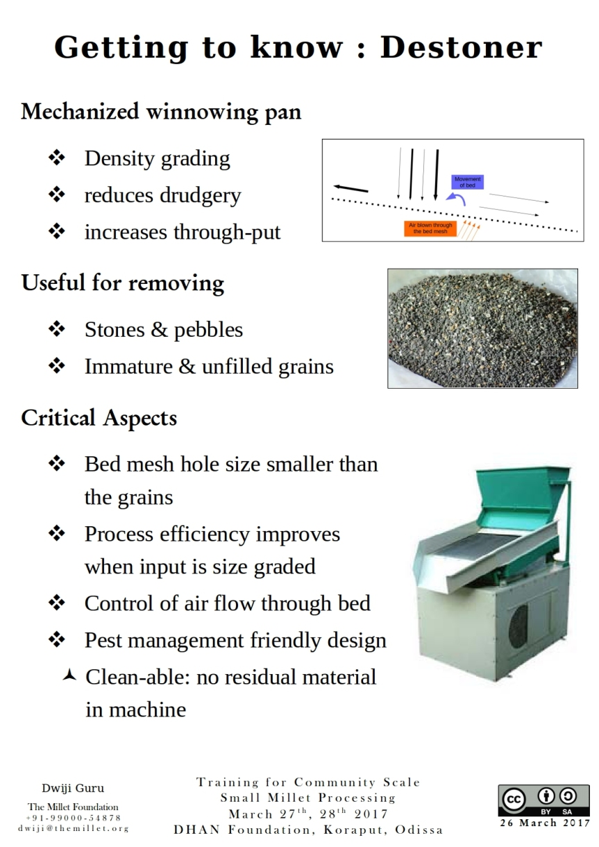 A few simple points to remember about a destoner or a density grader