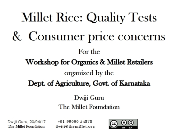 Millet Rice Quality & Addressing Consumer Price Concerns