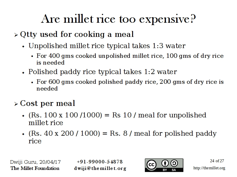 Millet rice: Quality Tests & Addressing Consumer priceconcerns